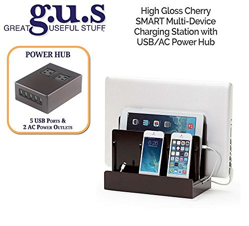 G.U.S. Multi-Device Charging Station Dock & Organizer - Multiple Finishes Available. For Laptops, Tablets, and Phones - Strong Build, SMART High Gloss Cherry with USB+AC Power Hub (8A/40W) by Great Useful Stuff