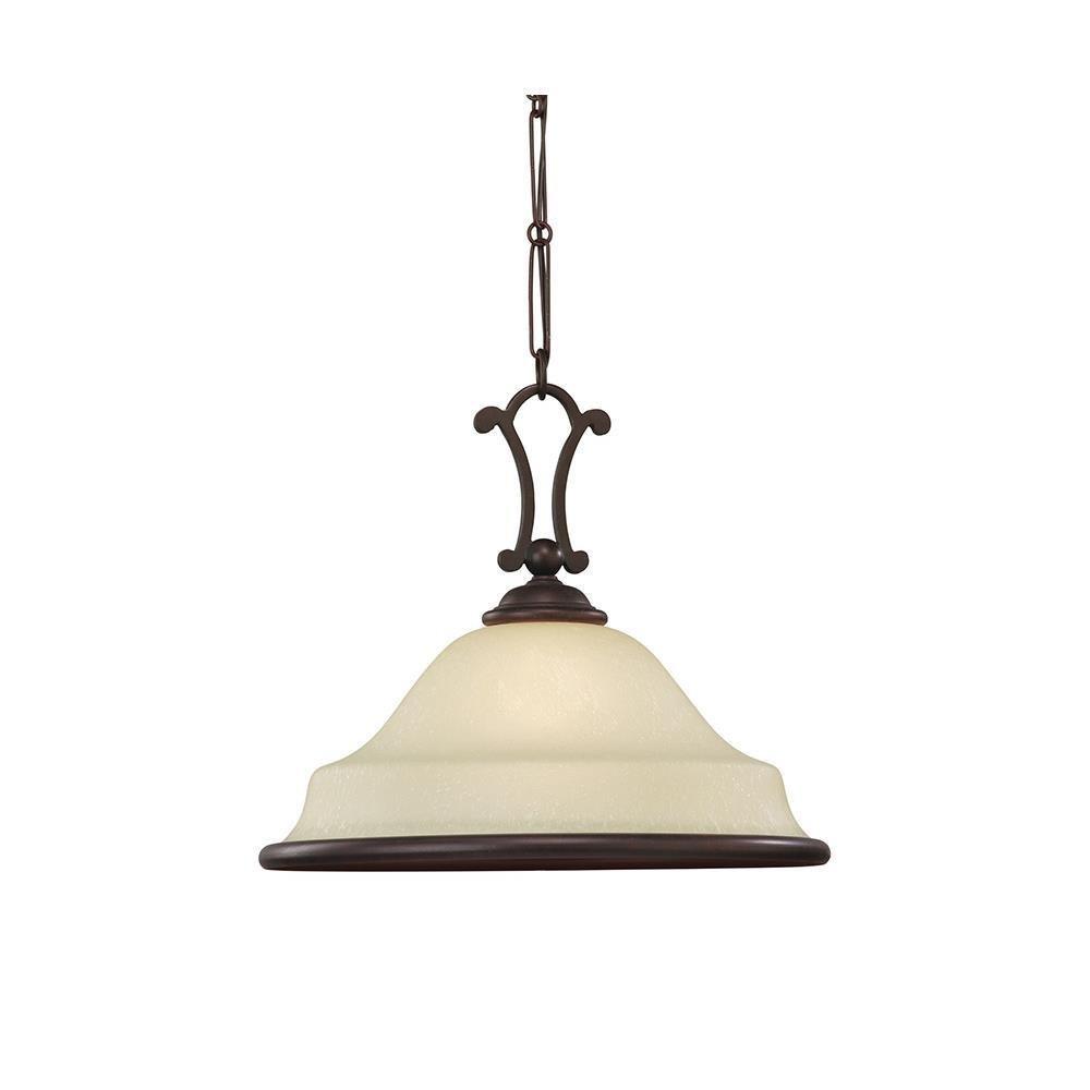 Sea Gull Lighting 65145-814 Single-Light Acadia Pendant, Champagne Seeded Glass Shade, Misted Bronze