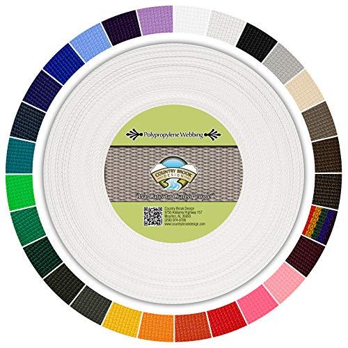 Country Brook Design | Polypropylene Webbing (1 Inch) (White, 25 Yards) ()