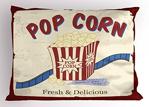 TINA-R Movie Theater Pillow Sham, Fresh and Delicious Pop Corn Film Tickets and Strip Advertising in 60s Theme, Decorative Standard King Size Printed Pillowcase, 24 X 16Inches, Multicolor ()