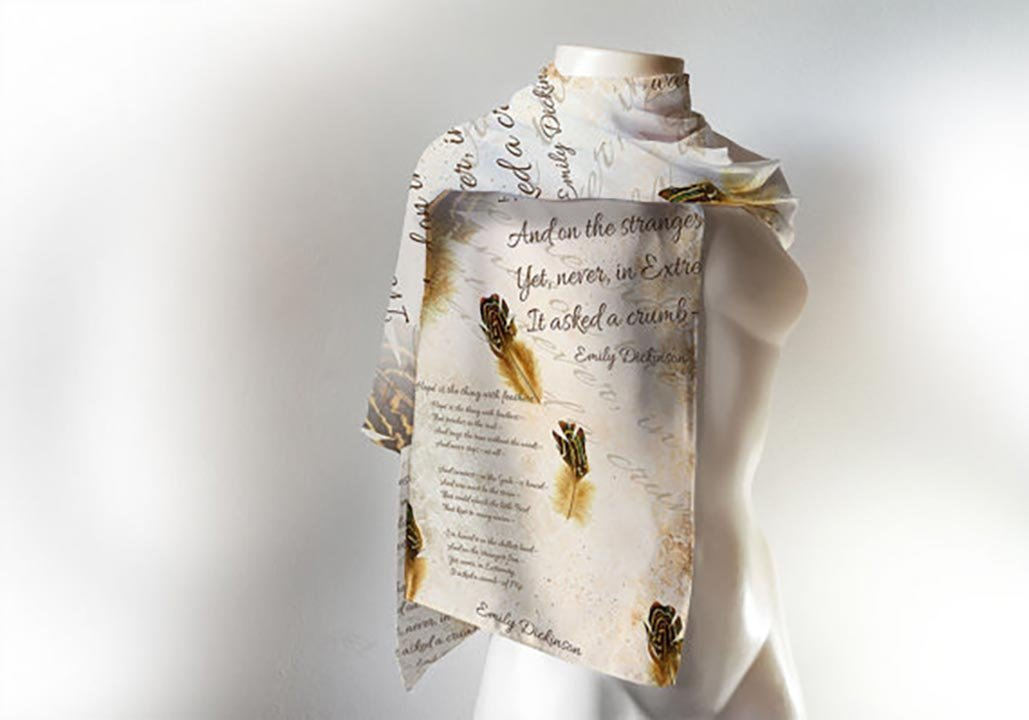 Emily Dickinson Book Scarf, Hope is the thing with feathers Literary Scarf