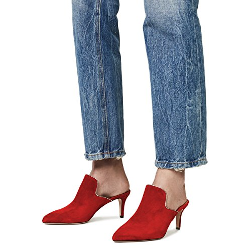 Women On Casual Low Pointed Slip Mules Loafers Toe Suede Red Shoes Slippers Heel Stilettos Ydn pdZgwg