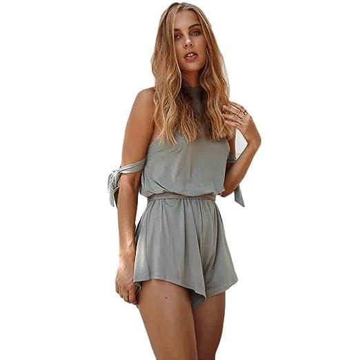6f764947b2 Wensltd Clearance! Women Off Shoulder Playsuit Jumpsuit Summer Beach Dress  (S