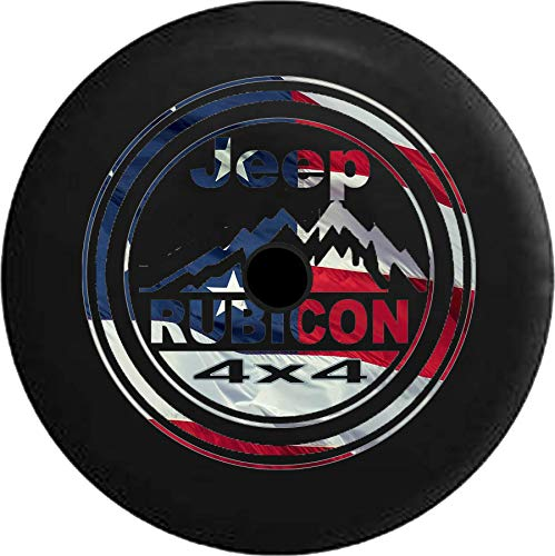 Spare Tire Cover 4x4 Mountains - Waving American Flag fits 2018 2019 2020 Jeep Wrangler JL Accessories 33 Inch Backup Camera (Spare Tire Cover 4x4)