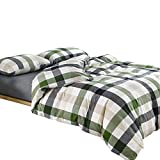 MKXI Cotton Queen Size Bed Duvet Cover Geometric Pattern Green White Grid Plaid Bedding Sets