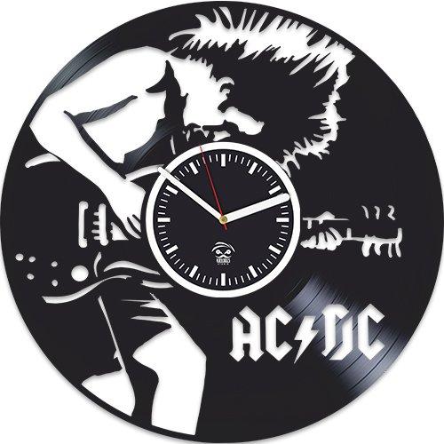 AC DC Vinyl Clock, ACDC Rock Band Music, Home Decals, Best Gift for Musician Boyfriend Vinyl Record, Kovides Vinyl Wall Clock, Valentines Day Gift, Silent Mechanism, Wall Clock Modern