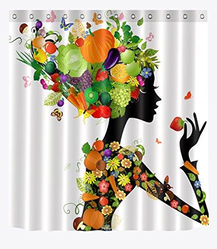 LB Fairy Girl of Harvest Fruits Vegetables Shower Curtains for Bathroom, Abstract Clip Art Decor Curtain, 70