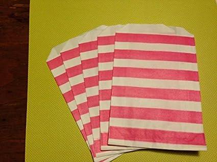 Juego de 12 bolsas de papel de rayas de color rosa