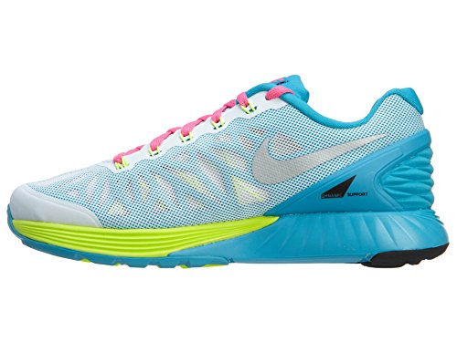 Nike Lunarglide Big Kids Style: 654156003 Sport Trainer Shoes White/Metallic Silver-volt-pink Pow LH1PW