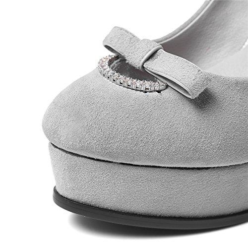 Nine Seven Cuero Moda Plataforma Puntera Redonda Tacones de Tacón Aguja con Lazo para Mujer gris