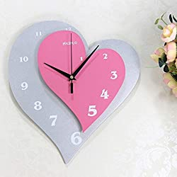 BAOBAO Silent Wall Clock Personality Creative Linked Table Living Room Heart-Shaped Hanging Table Bedroom Clock Wedding Watches Creative Fashion Simple (Color : #1)