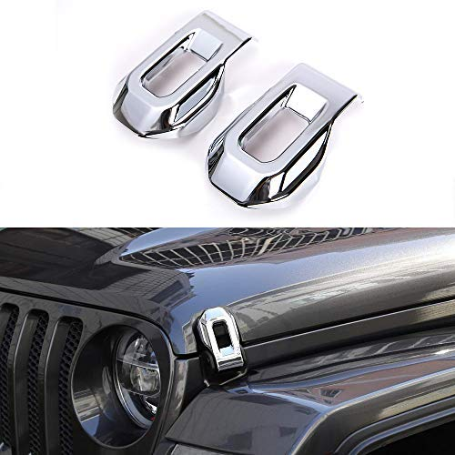 HEQIANG 2PCS Chrome Hood Latches Lock Catch Decoration Stickers for Jeep JL Wrangler 2018 Up Accessories