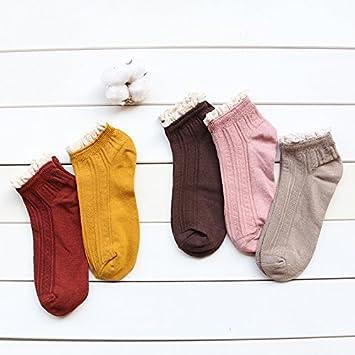 LIYJG Calcetines de algodón femenino Verano montón de encaje fino algodón calcetines Retro corto, rojo