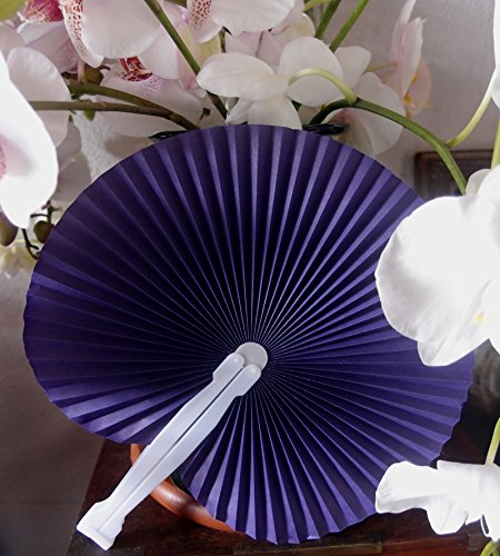 """Quasimoon 9"""" Purple Chinese Folding Accordion Paper Hand Fan for Weddings (10 Pack) by PaperLanternStore"""