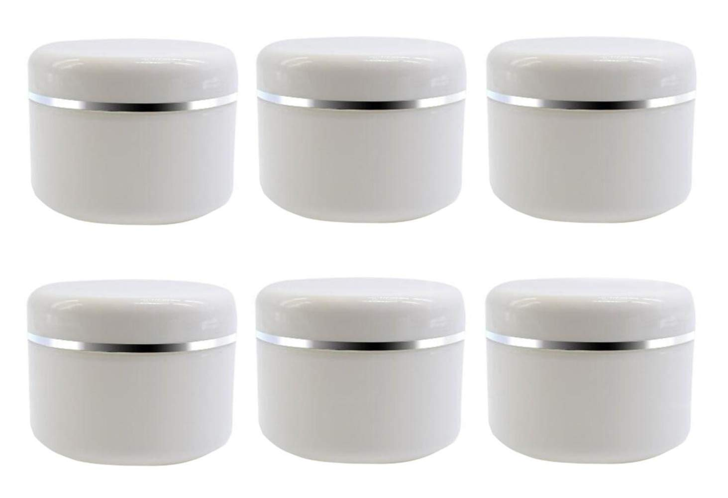 8 Oz 250ml White Plastic Cosmetic Jars with Inner Liners and Dome Lids Refillable Make-up Cosmetic Containers Pot Case for Scrubs Oils Salves Creams Lip Balm Lotions Nail Accessories Pack of 6