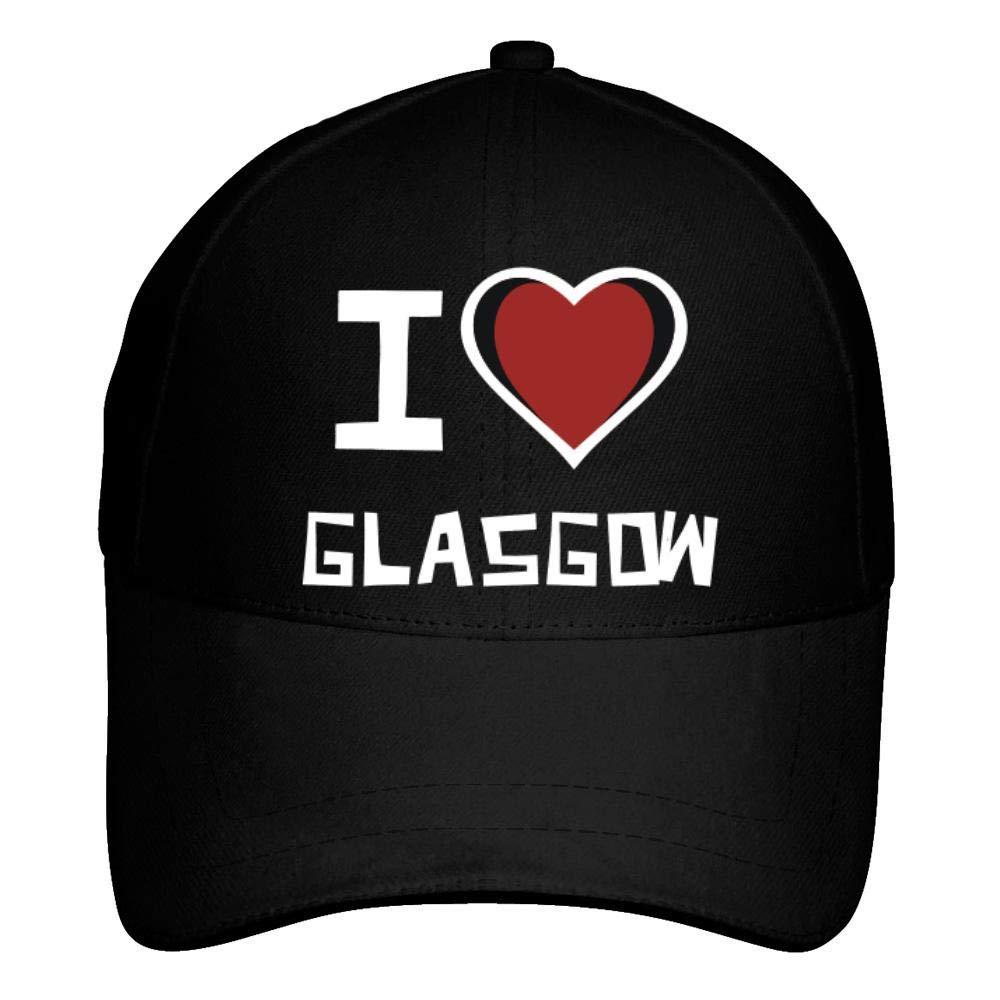 Idakoos I Love Glasgow Bicolor Heart Baseball Cap Black