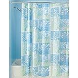 "InterDesign Vivo Botanical Fabric Shower Curtain - 72"" x 72"", Blue/Green"
