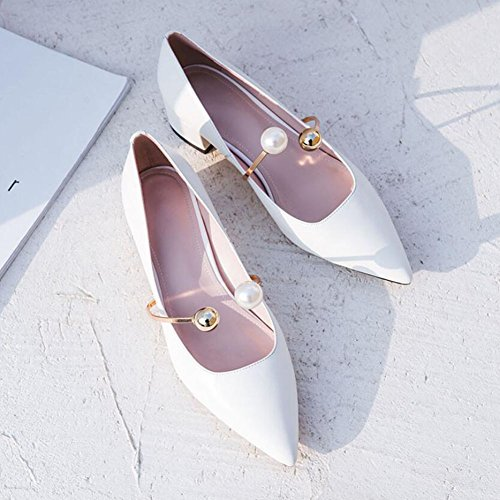 Womens Pumps Spring with Mouth Flat Ladies Metal High GAOLIXIA Glamorous Women's White Pearl Summer Pointed Leather Shoes Shallow Shoes Heels Bottom B1dwHHqp