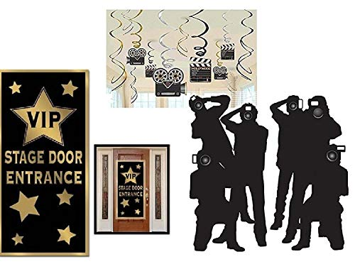 FAKKOS Design Hollywood Red Carpet Awards Ceremony Party Theme Supplies and Decorating Pack - 3 Items - Paparazzi Props, VIP Entrance Door Cover and Movie Theme Foil Swirls with Cutouts ()