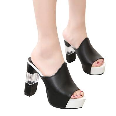 d9528b5bd80 Wobuoke Women s Wedge Thick Bottom Slippers Open Toe Summer High Heel  Sandals Black