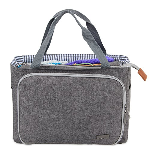Luxja Crochet Tote Bag, Yarn Storage Bag for Small Unfinished Projects, Crochet Hooks and Other Accessories, Gray