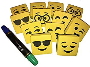 Magnetic Whiteboard Dry Erase Erasers Smiley Faces Set of (12) Cleaning Wipe your White Board - Bonus Two Side Markers - For Student and Teachers - Useful at School Office & Home from BundleStuff