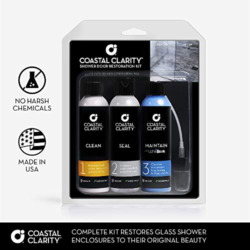 Coastal Clarity Shower Door Restoration Kit - Soap Scum Remover, Water Repellent and Shower Glass Cleaner, Three-Step System