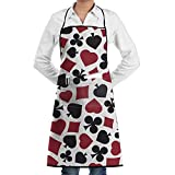 RZ GMSC Novelty Cool Poker Playing Cards Pattern Kitchen Chef Apron With Big Pockets - Chef Apron For Cooking,Baking,Crafting,Gardening And BBQ