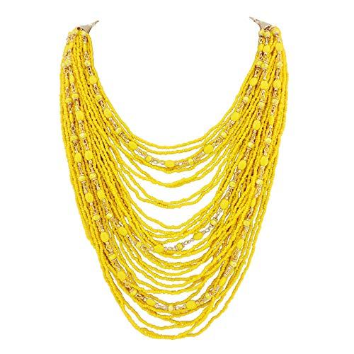 Bocar Multi-Layer Long Chain Chunky Bib Seed Beads Statement Necklace (NK-10410-yellow)
