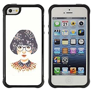 WAWU Rugged Armor Slim Protection Case Cover Shell -- smart girl glasses white nerd -- Apple Iphone 5 / 5S