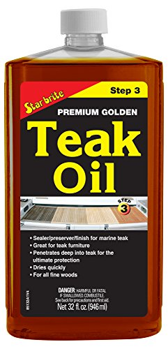 Star brite Premium Golden Teak Oil - Sealer, Preserver, & Finish for Outdoor Teak & Other Fine Woods (To Wood Teak Find Where)
