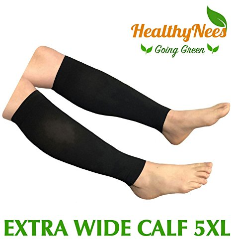 HealthyNees Shin Calf Sleeve 20-30 mmHg Medical Compression Circulation Extra Wide Plus Size Big Tall Leg Thick Calves Firm Support (Black, Extra Wide Calf 5XL) by HealthyNees