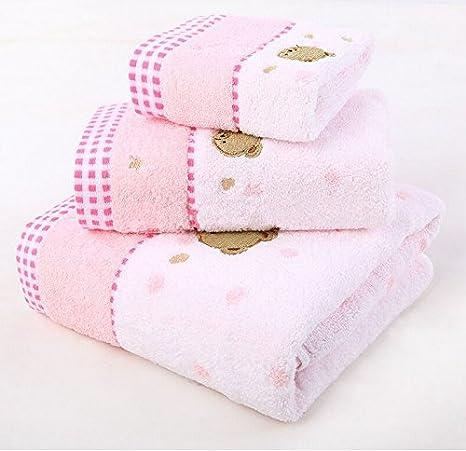 hoomy Cute diseño de oso toalla de baño Set naturaleza algodón Toallas de mano de duradero