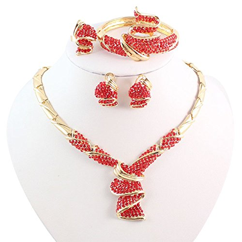 18k Red Gold Necklace - OUHEJewelry Sets 18K Gold/Silver Plated Crystal Necklace Earrings Bracelet Ring Sets (red)