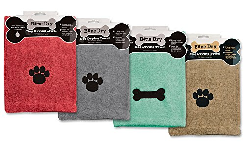 Best dog towel (standard) - DII Bone Dry Microfiber Pet Bath Towel with Embroidered Paw Print, 44x27.5