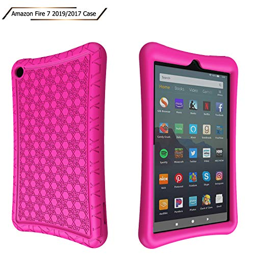 LTROP Silicone Case for All-New Amazon Fire 7 Tablet (2019/2017)-[3D Snowflake Pattern][Kids Friendly] Lightweight [Anti Slip] Shockproof Protective Cover - Rose