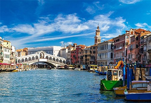 LFEEY 10x7ft Venice Rialto Bridge Backdrop Europa Landmark Italy Romantic City View Water Transportation Grand Canal with Gondola Background for Photography Holiday Travel Wedding Photo Studio Prop ()