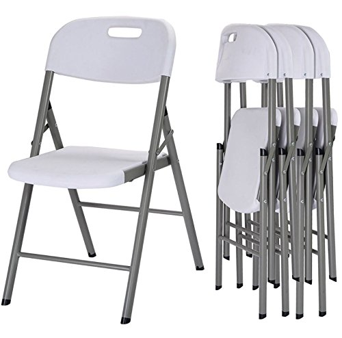 Quality Chairs - Commercial Heavy Duty Folding Chairs - Set of 4 - Durable Steel Frame Plastic - Ideal for Party - Wedding Functions