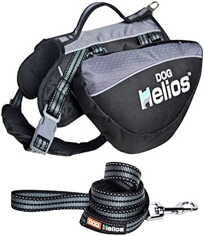 DOGHELIOS Freestyle 3-in-1 Explorer Sporty Fashion Convertible Pet Dog Backpack Harness and Leash Medium Black