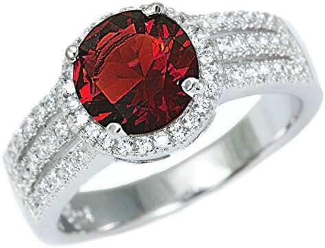 Sterling Silver Halo Simulated Garnet Gemstone Ring Sizes 5-10