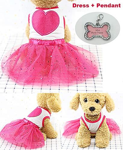 aibushishou Tutu Princess Dress Cute Pet Dog Cat Puppy Dress Peach Heart Decoration Skirt Clothes Pet Apparel Teddy Dog Clothes for Spring Summer