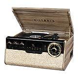 Victrola - Reproductor de grabación 6 en 1 con Bluetooth y Tocadiscos de 3 velocidades, CD, Reproductor de Cassette y Radio FM, Color Nogal