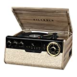 Victrola 6-in-1 Bluetooth Record Player with 3-Speed Turntable, Cd, Cassette Player and FM Radio, Farmhouse Walnut