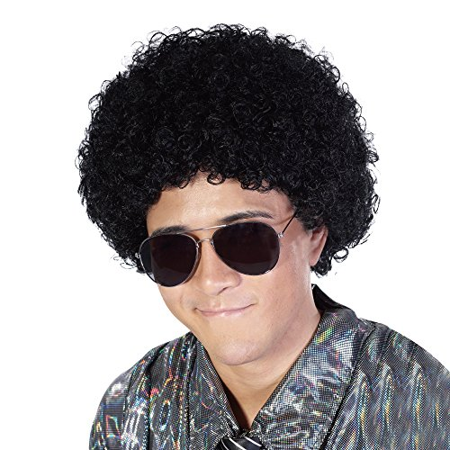 Fluffy Afro Synthetic Clown Wig for Men Women Cosplay Anime Party Christmas Halloween Fancy Funny Wigs (Black) -