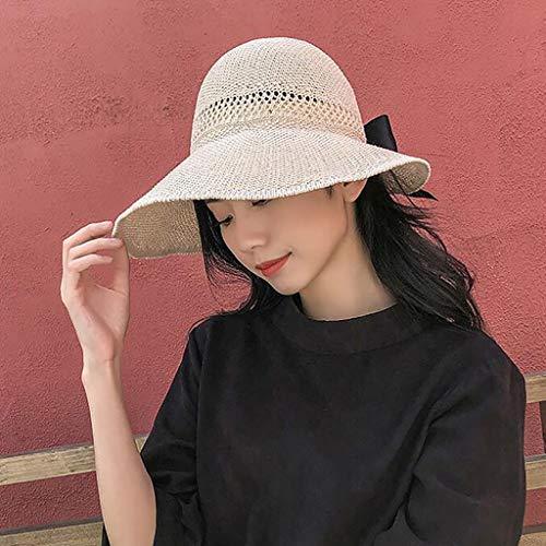 Tianerly Sun Visor Hats for Women Wide Brim Knitted Ponytail Summer Beach Hat UV UPF 50 Travel Packable Beige