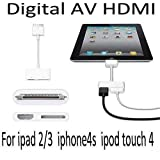 AV Digital 30-pin Adapter to HDMI to connect Apple iPhone 4/4S And iPad 2 Apple iPad3 iPod Touch (iOS9 iOS8 compatible) To TV Monitor Projector HD Device and Charge At The Same Time by BeckenBower.