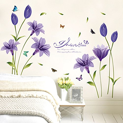 WMdecal Removable Large Lily Flower Wall Vinyl Decals for TV Wall Easy to Apply Peel and Stick Wallpaper Art Stickers for Living Room (Purple) -