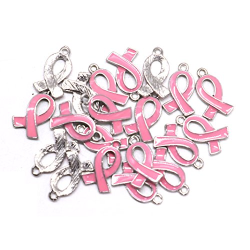 (IDS 20PCS Pink Ribbon Pendants Breast Cancer Awareness Charms Beads Dangle Pendant accessories)