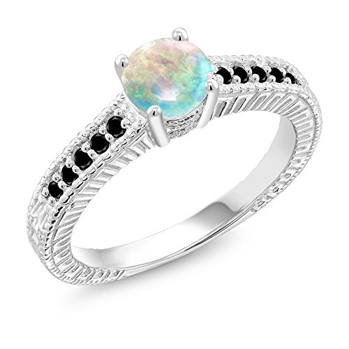 Gem Stone King 0.92 Ct Round Cabochon White Simulated Opal Black Diamond 925 Silver Ring (Size 6)