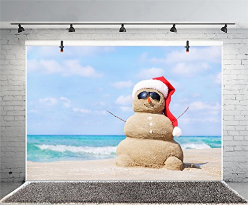 Leyiyi 7x5ft Photography Background Merry Christmas Backdrop Xmas Santa Claus Cap Snowman Seaside Southern Sand Beach Sunglasses Hawaiian Luau Happy New Year Holiday Photo Portrait Vinyl Studio Prop (In July Australia Christmas In)